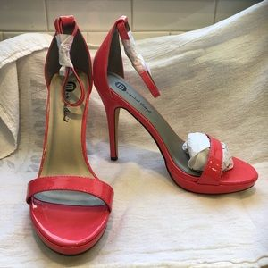 Watermelon patent heeled sandals